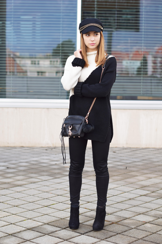 Schwarz-weißer Pullover von Zara mit Topshop Jeans und Rebecca Minkoff Tasche