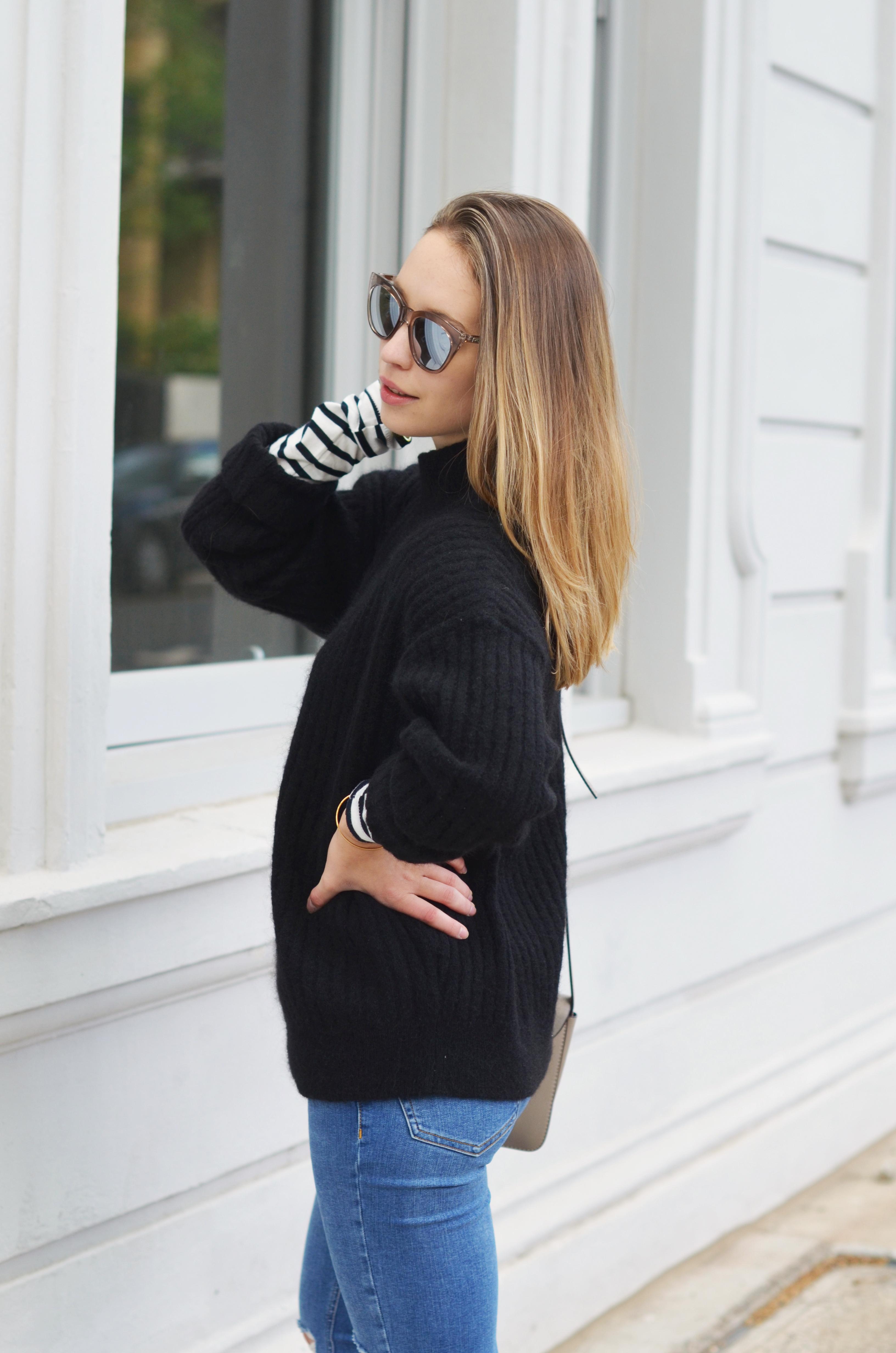 schwarzer-wollpullover-von-h&m-mit-röhrenjeans-und-grauer-tasche-stylemocca
