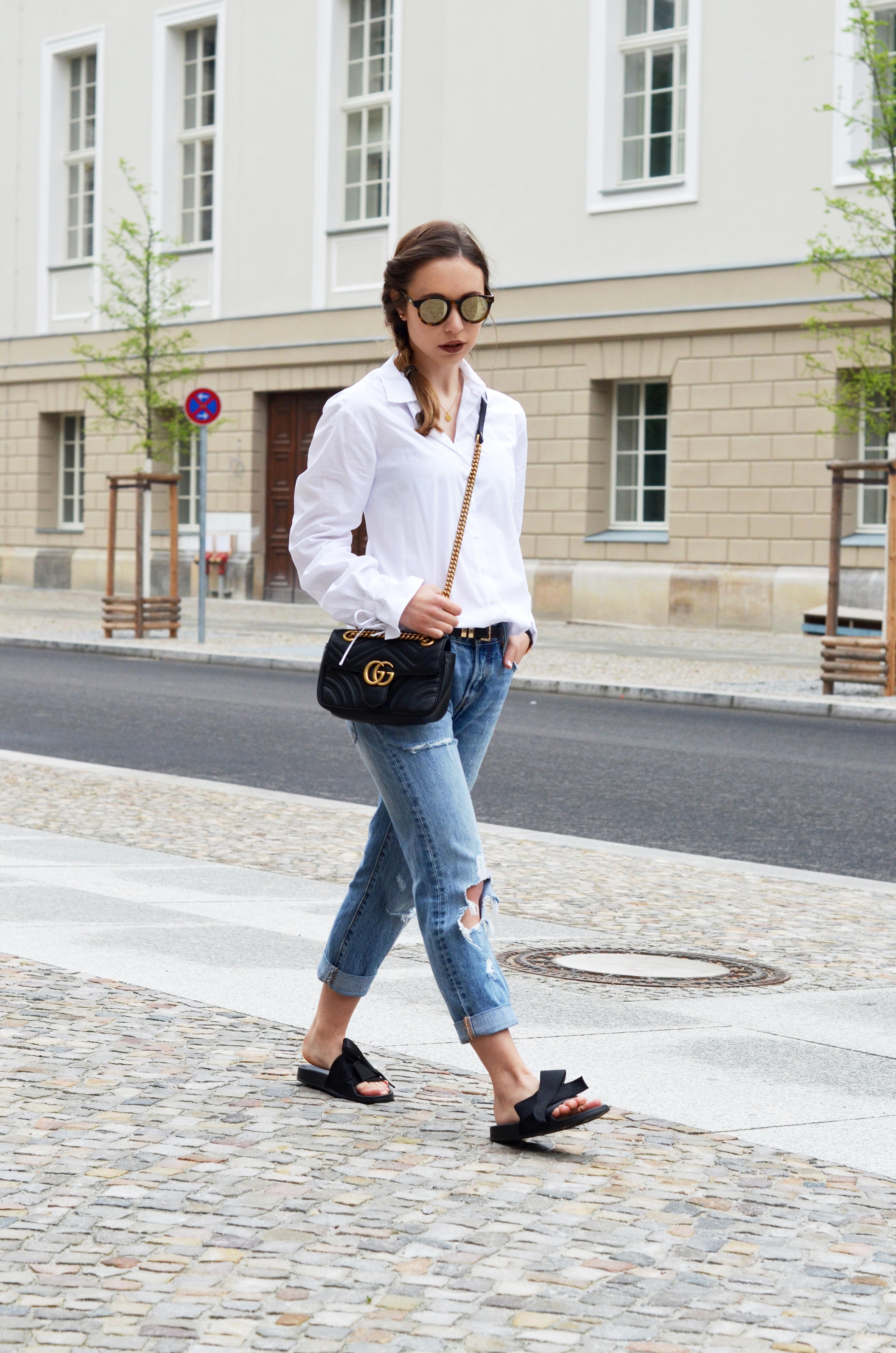 Berühmt Basics kombinieren: Die Klassische weiße Bluse mit einer Boyfriend @QK_58