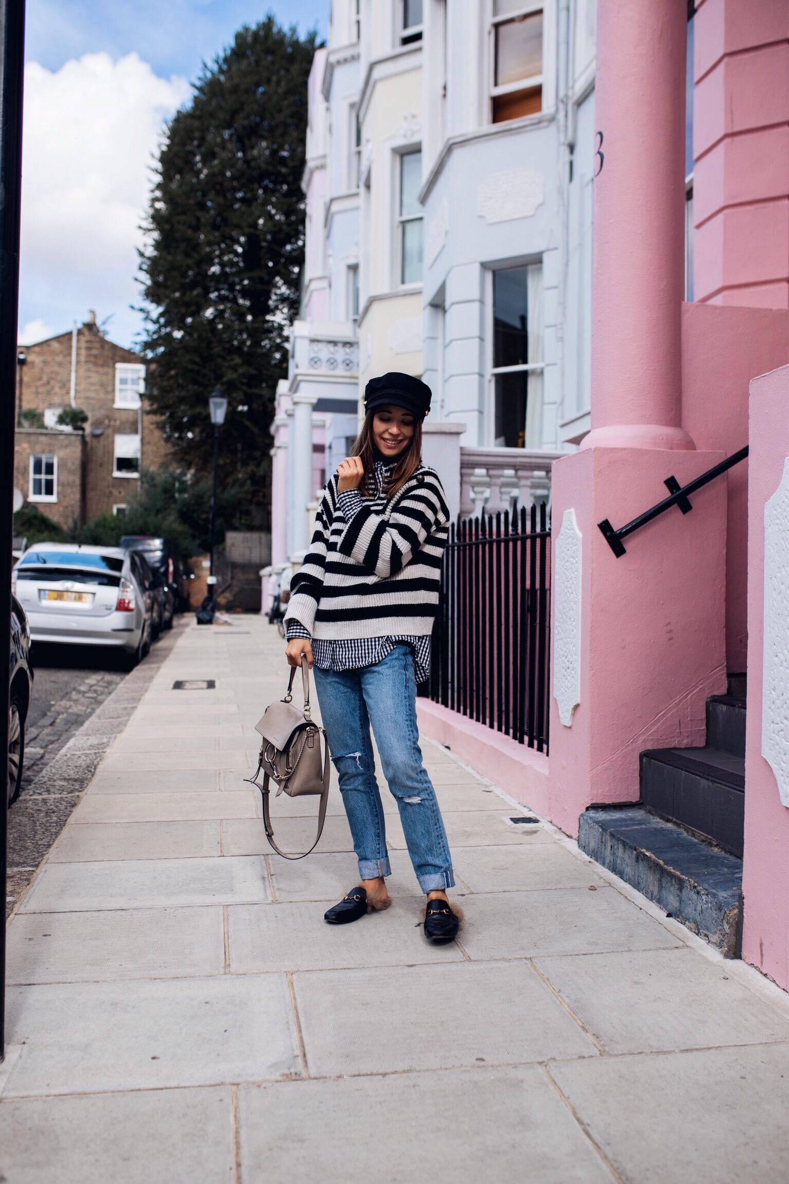 Herbstliches Outfit mit Streifenpullover und Levi's Jeans